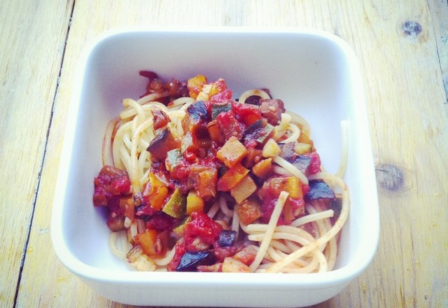 siktwinfood: Spaghetti mit Ratatouille aus dem Ofen
