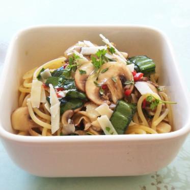 siktwinfood: Spaghetti in Champignon-Bärlauch-Marinade mit Parmesan und Peperoni