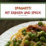 Spaghetti mit Erbsen und Speck. Rezept nach Jamie Oliver.