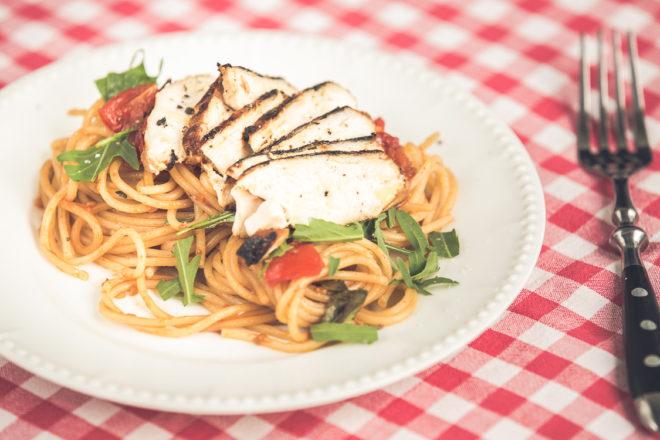 Pastamaniac: Spaghetti mit Balsamico-Hühnchen und Tomaten