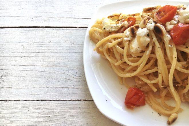 Pastamaniac: Spaghetti mit Chicorée, Tomaten und Schafskäse