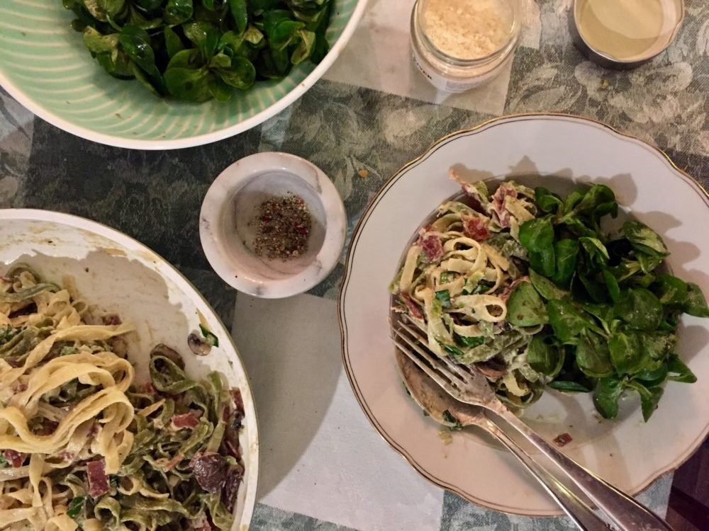Paglia e fieno: Bandnudeln mit Sahne-Pilzsauce, Gastbeitrag von What's cooking Lisa?