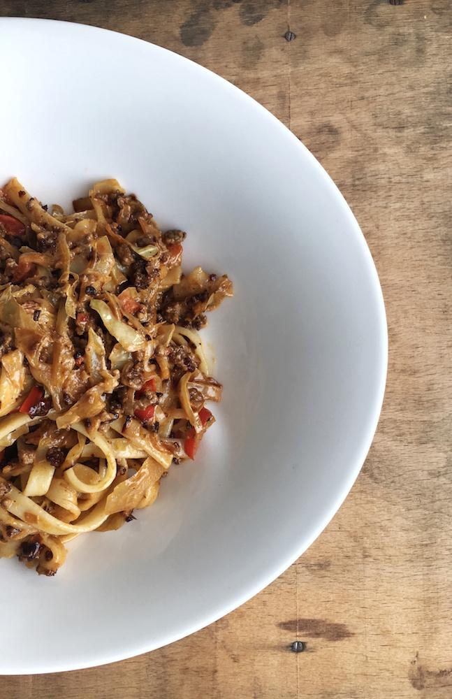 Spaghetti mit Hackfleisch und Spitzkohl, Pastamaniac